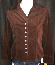 A.M.I.  Dark Brown Stretch Velour Corduroy Blazer Jacket Sz L NWT MSRP $ 44