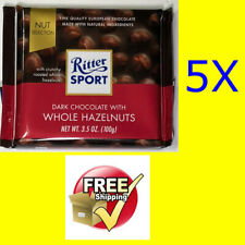 5x Ritter Sport @ Dark Chocolate with Whole Hazelnuts All Natural @ 5x 100g/