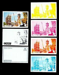 Niue 1977 $1 Elizabeth II Coronation & Westminster Abbey Progressive Proofs 7v