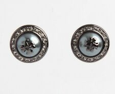 AUTHENTIC TORY BURCH 'NATALIE' GRAY CRYSTAL PEARLY STUD EARRINGS-$88-NEW ON CARD