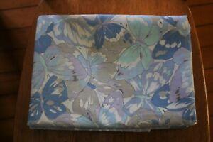 vintage cotton single bed sheet set+case 2 flat BUTTERFLY pattern blue tones