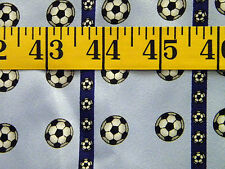 SOCCER BALLS ALLOVER BLUE STRIPES 100% POLYESTER  FABRIC 31X21 INCHES
