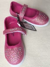 New Bebe Girls Bright Pink Canvas Mary Jane Sneakers Crystals sz 7/8