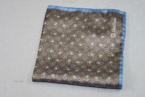 David Donahue Men's Blue Brown Paisley Silk Pocket Square