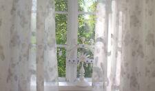 Vorhang ROSALIE offwhite Rosen sand Gardine 2 x 140x250 Skandinavisches Landhaus