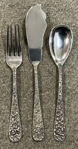 Sterling STIEFF 3pc Place Setting, STIEFF ROSE, Fork, Knife, Spoon, 126 grams NR
