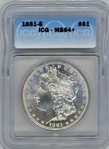 1881-S ICG MS-64+ MORGAN $ ~ SEMI P/L ~  100% WHITE & BRIGHT ~ 1c START