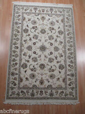 4x6 Tabriz Museum Cream all-over Pattern Handmade Knotted Wool/Silk RUG 582399