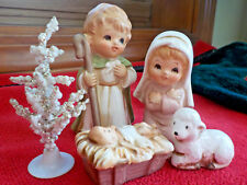 Miniature Porcelain Nativity Figurines Joseph, Mary, Jesus, Lamb, Tree Christmas