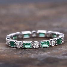 Antique Emerald and Diamond Full Eternity Wedding Band Ring 14k white Gold Over