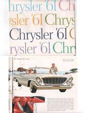 1961 CHRYSLER US Range Brochure NEWPORT WINDSOR NEW YORKER