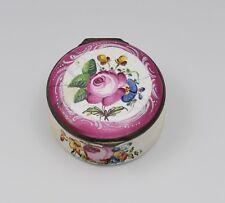18th Century Staffordshire Bilston Enamel Floral Snuff Pill Box