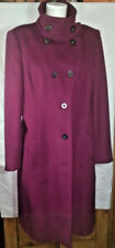 Hobbs Purple Grape Estelle Wool Cashmere Coat Size UK Large 16 / Small 18 .