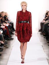 New Oscar De La Renta Black & Red French Lace Guipure Bubble Belted Dress 6