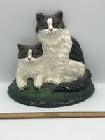 Vintage antique heavy Cast Iron Cats kitten Doorstop