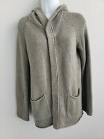 EUC James Perse Grey Hooded Knit Long Sleeve Cardigan with Pockets Sz 2 Cotton