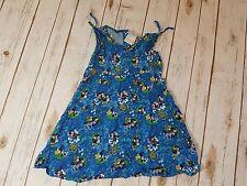 Girls DISNEY STORE Blue Sleeveless MICKEY & MINNIE Mouse Hawaiian Print Dress XS