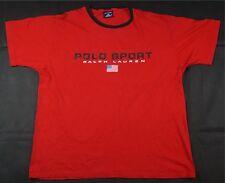 Rare Vintage POLO SPORT Ralph Lauren Spell Out USA Flag Ringer T Shirt 90s SZ XL