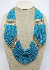 Magnificent Turquoise Glass Seed Bead Necklace Banana Republic $69 Tags #BRN10