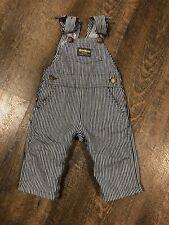 Vtg Osh Kosh B'Gosh Vestbak Railroad Stripe Denim Bib Overalls Toddler 6 9 Mo