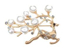 Brosche Rentier Weihnachten X-Mas gold Strass Perlen Rudolf goldene Brosche