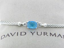 DAVID YURMAN 3MM  PETITE WHEATON BRACELET  BLUE TOPAZ AND DIAMONDS SIZE LARGE