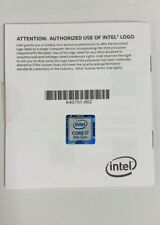 Intel Core i7 9th Gen Logo Label ONLY and booklet