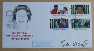 QUEEN ELIZABETH 65TH BIRTHDAY 1991 SIERRA LEONE FDC SIGNED BY ACTRESS ISLA BLAIR