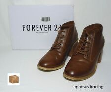 FOREVER 21 F21 Ankle Boots Round Toe/Heel Boots Caramel Brown 8.5 M Leather MINT