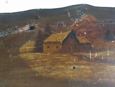 HAND PAINTED farm scene dairy milk rustic barn wood board shabby fence line