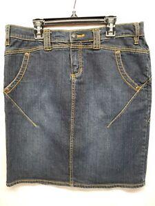 "Daisy Fuentes Moda Womens Sz 10 Blue Denim Jeans Skirt  Length 20 1/2"" EUC"