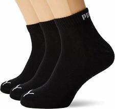 Puma Unisex Quarter Training Socks in Black with Flat Toe Seam - 3 Pairs / 6-8