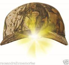 Camo Fleece Lined Wildfowling Lamping Baseball Cap Hat LED Lights & Ear Flaps