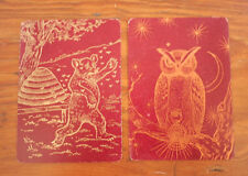 2 Vtg Antique 1800s Russell Morgan CONGRESS Lacquer Owl Bee Bear Playing Cards