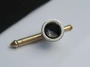 Single Antique Art Deco Larter & Sons 10K Gold & Black Enamel Shirt Stud Button