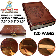 Coptic Bound Vintage Heart Embossed Leather Heart Journal Photo Album Brown New