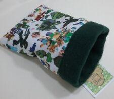 "Snuggle sack bag PC game green Fleece 5.5"" x 7"" reversible hamster mouse rat a"