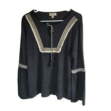 Style Co Embroidered Trim Solid Peasant Snit Top Womens Size Medium Black