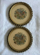 Two Vintage Floral Petit Point Art Pieces In Carved Wood Pacific Picture Frames