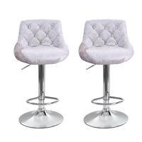 Set Of 2 Bar Stools Velvet Fabric Adjustable Counter Dining Chair Swivel Kitchen