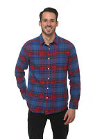 Elevani Men's Long Sleeve Regular Fit Casual Flannel Blue/Red Shirt