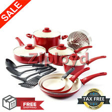 Healthy Ceramic Nonstick Cookware Set Kitchen Cooking Pots and Pans Oven Safe
