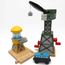 Thomas & Friends CRANKY THE CRANE & WATER TOWER Train Car Cargo Lot Wooden Track