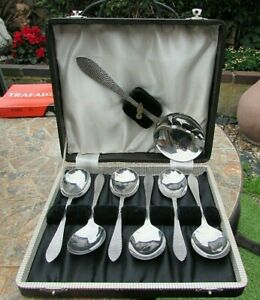 """Cased Set 7 Firth """"Staybrite"""" Dessert Spoons -1 Serving + 6 Spoons - All in VGC"""