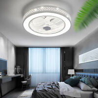 22'' Ceiling Fan Light Acrylic Bladeless Chandelier Fan Remote Control 3 Speed