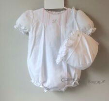 NWT Petit Ami White Pintuck  2pc Bubble Romper Newborn Bonnet Baby Girls Bonnet