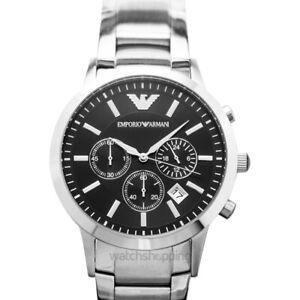 EMPORIO ARMANI  AR2434 Black Dial Men's Watch Genuine FreeS&H