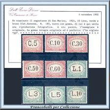 1924 San Marino Segnatasse Serie completa n. 10/18 Cert. Diena Nuovi Integri **
