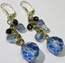 boucles d'oreilles dormeuses bijou vintage argenté perle verre bleu noir 1715