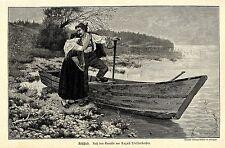 August Dieffenbacher Abschied Paar in Tracht am See Histor. Druck v. 1890